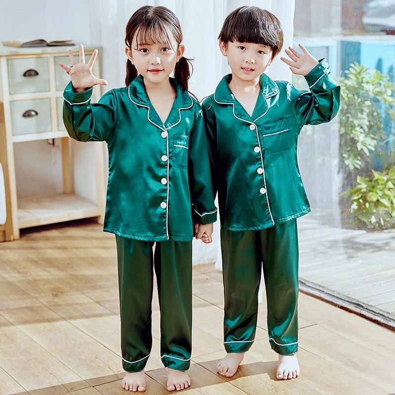 Girls Pajamas 2019 Autumn Winter Long Sleeve Children's Sleepwear Set Silk Pajamas Suit Boys Pyjamas Sets for Kids Tracksuit Set 1