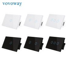 Vovoway touch light switch tempered glass panel single fire wire control US standard 1/2/3gang wall sticker switch interrupter waterproof us au black touch jingle door bell wall switch tempered glass touch doorbell switch free shipping