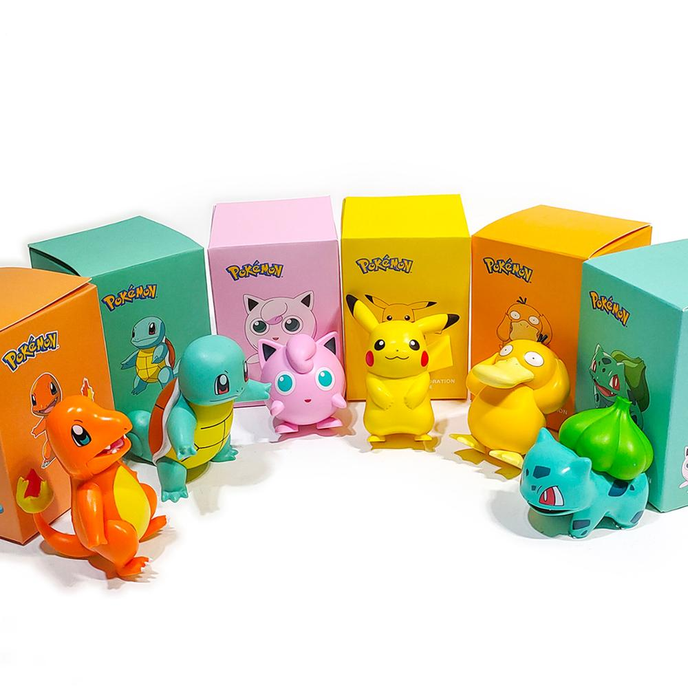 POKEMON Charmander Cleffa Pikachu Bulbasaur Squirtle Psyduck Pocket Monster Poké Model Action Figure One Piece Toy For Kids gift 3