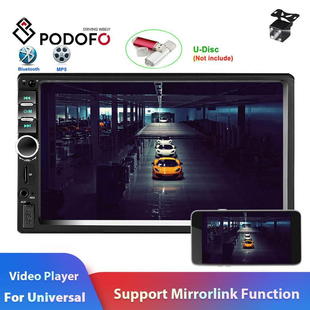"Podofo 2 din Car Radio Autoradio 7"" Car Multimedia Player 2 Din audio Stereo Auto Radio MP5 Player Bluetooth USB FM camera 7018B-in Car Radios from Automobiles & Motorcycles    1"