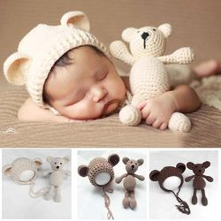 little Bear hat and doll Photo Props newborn photography baby crochet clothes boy accessories girl  outfit