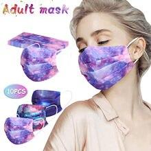 10PC Jetable Adulte Cravate teinture Masque Mascarillas De Couleurs Маски На Лица Защитные Masque En Tissu Lavable Intérieur Masque Masque