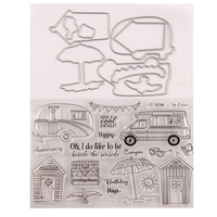 WYSE Travel Stamps and Dies 2020 Car Umbrella Metal Cutting Dies with Clear Rubber Stamp for DIY Scrapbooking paper card