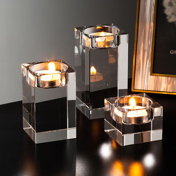 Solid Crystal Clear Square Glass Tealight Candle Holders 2