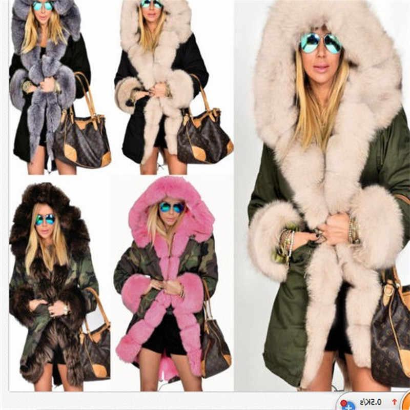 Women's Winter Coats Elegant Dropshipping Hooded Faux Fur Coat Jacket Thick Warm Coat with Fur Cardigan Long Sleeve Women Coats