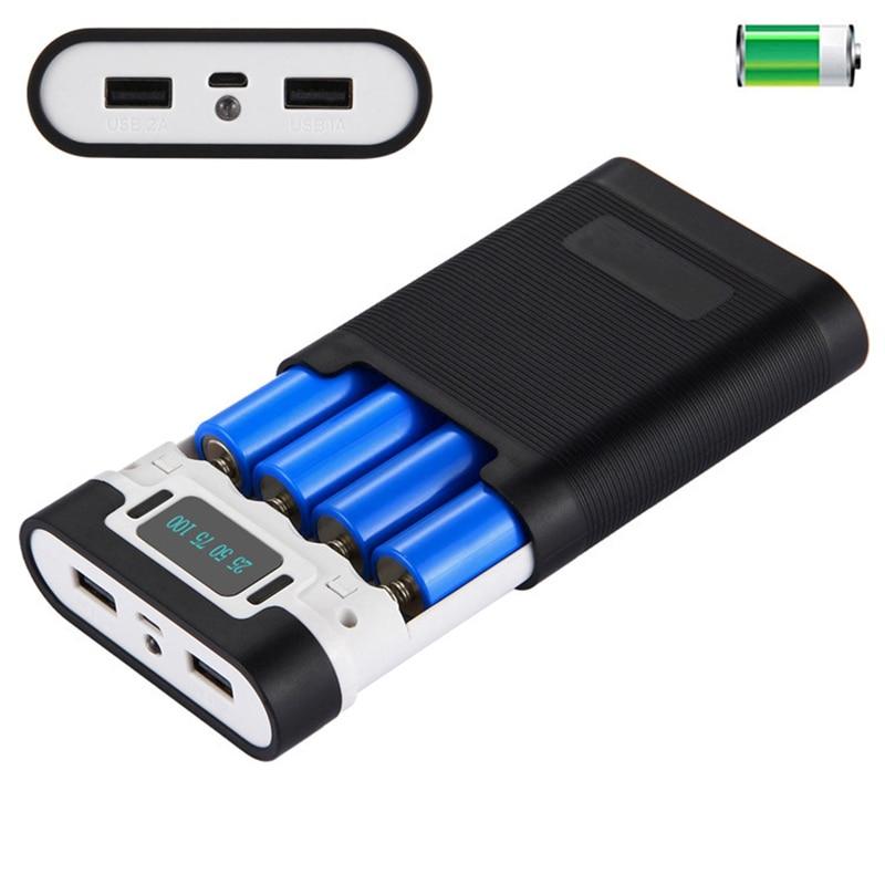 Dual USB 18650 Power Bank Case Battery Box Charger DIY Box for Phone External Power LED Flashlight Power Bank Box