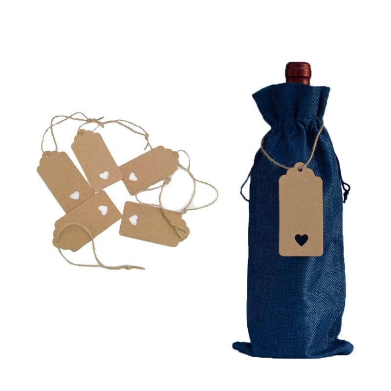 10/12pcs Rustic Linen Drawstring Champagne Red Wine Bottle Bag Gift Packaging X4YD