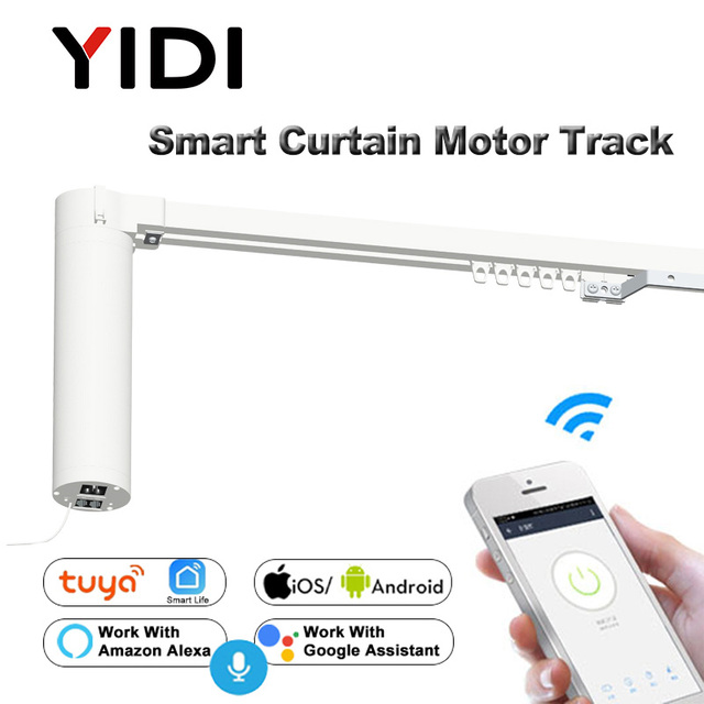 Wifi Smart Automatic Curtain Control System Smart life Motorized APP remote voice control Curtain motor track rail