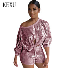KEXU Sequin Playsuit Women Two Pieces Sets Shorts Overalls Casual Glitter Hollow Out Jumpsuits Elegant Lace-up Bodycon Rompers