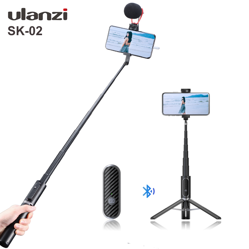 Ulanzi SK-02 Wireless Bluetooth Selfie Cold Shoe Vlog Tripod Monopod Extendsion Tripod Microphone LED Light Youtube Live Selfie