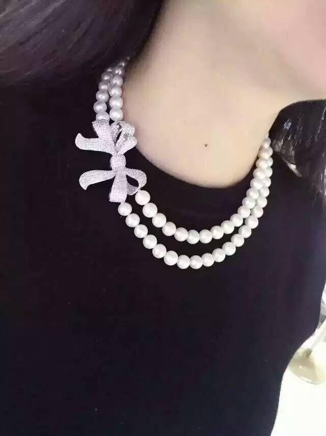 Double brins 9-10mm mer du sud collier de perles blanches 18'