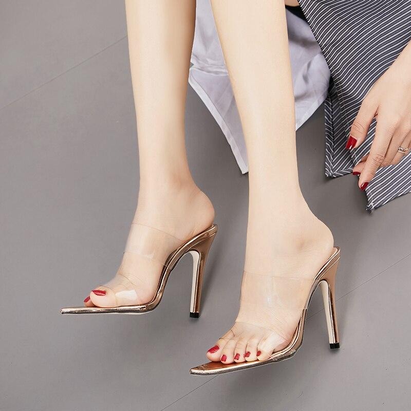 Купить с кэшбэком Transparent Pointed Toe Women's Slippers Sandals Plus Size 35-42 Stiletto High Heels Ladies Slides Gold Women's Shoes NIUFUNI