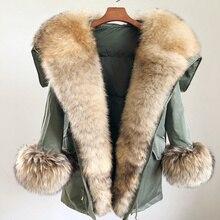 Негабаритный меховой воротник, утиный пух, пальто из натурального меха, зимняя куртка, Женская парка, натуральный мех из енота, лисы, съемный свободный