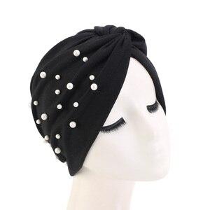 Image 2 - New Muslim Women Pearl Beading Elastic Turban Hat Cancer Cap Head Wrap cotton twist Chemo Cap Beanie Hijab Caps Headwear