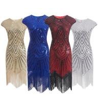 Women Party Dress Robe Femme 1920s Great Gatsby Flapper Sequin Fringe Midi Dress Vestido Summer Art Deco Retro Black Dress