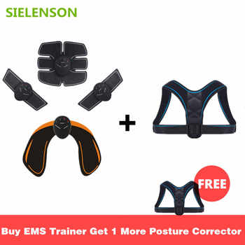 EMS Electric Muscle Stimulator Buttocks Abdominal ABS Stimulator Fitness Trainer Body Slimming Massager with Posture Corrector - DISCOUNT ITEM  30 OFF Beauty & Health