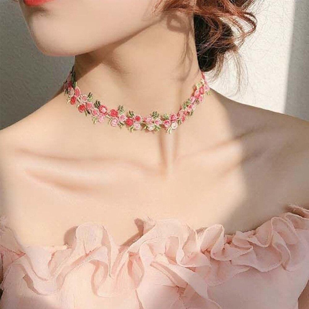 Boho bordado flor gargantilha colar para meninas femininas romântico rendas colares jóias