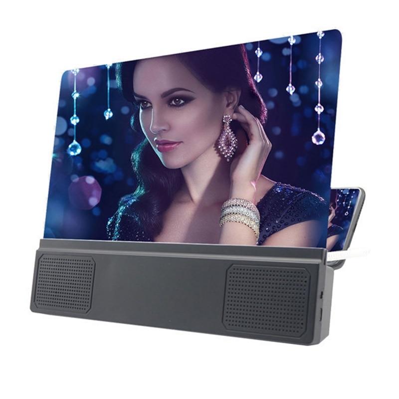 12'' Folding Mobile Phone Screen Magnifier 3D HD Screen Amplifier Stand Bracket Larger Screen For Video