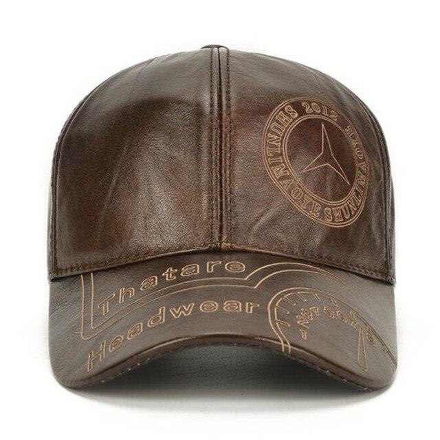 SHALUOTAOTAO Snapback Cap Quality Cowhide Genuine Leather Hat Men Autumn Winter New Thermal Adjustable Size Brands Baseball Caps 3