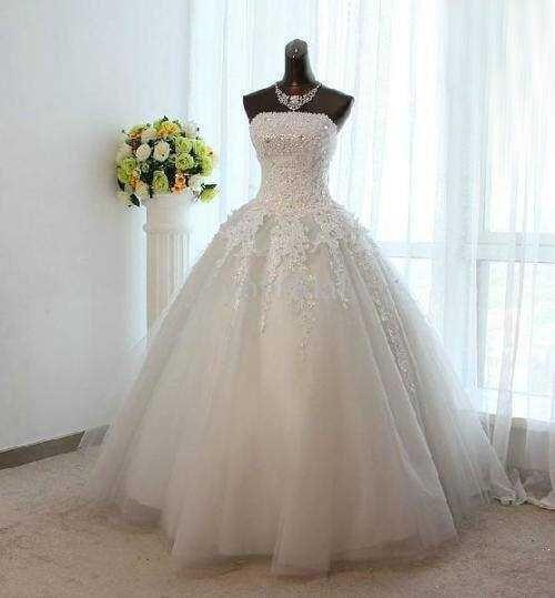 Hot Sale Wedding Dress 2015 Tulle Applique Ball Gown Vintage Bridal Gown Vestido De Noiva 2015