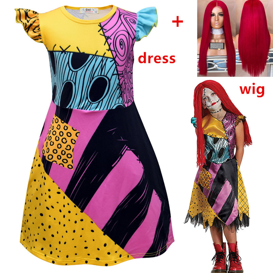 Nightmare Before Christmas Sally Cosplay Princess Dress Girls Christmas Dresses Kids Home Clothes halloween costume for kids+wig