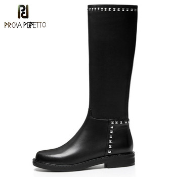 Prova Perfetto 2019 Woman High Boots Rivet Metal Decoration Boots Winter Genuine Leather Knee High Boots Comfort Low Heels Boots