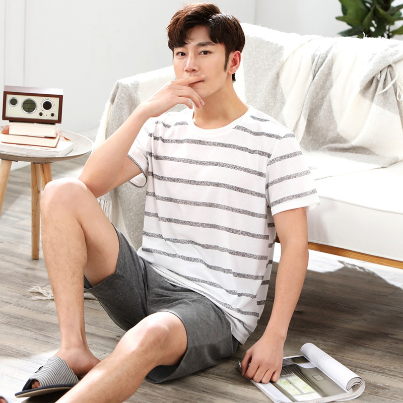 Casual Striped Cotton Pajamas Sets For Men 2019 Summer Short Sleeve Sleepwear Male Pyjama Homewear Pijama Hombre Lounge Clothes