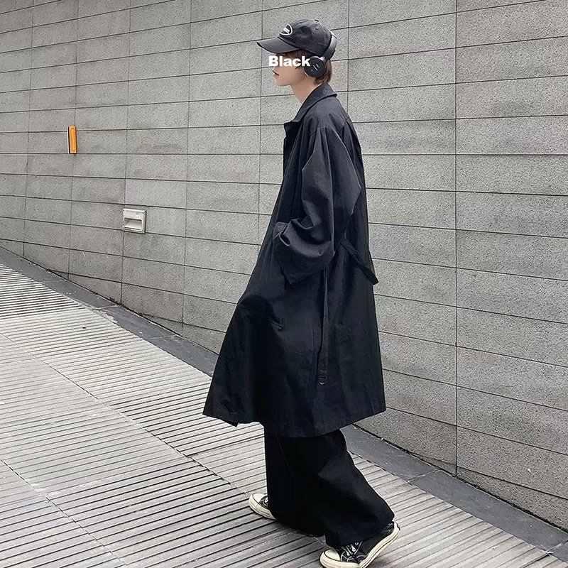 Новинка весна-осень 2020, стильная ветровка, мужское Свободное пальто, пальто средней длины, топы для подростков, повседневная куртка