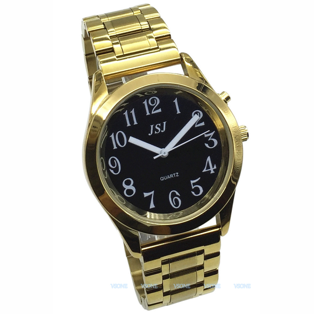 English Talking Watch With Alarm Function, Talking Date And Time, Black Dial, Folding Clasp, Golden Case TAG-808