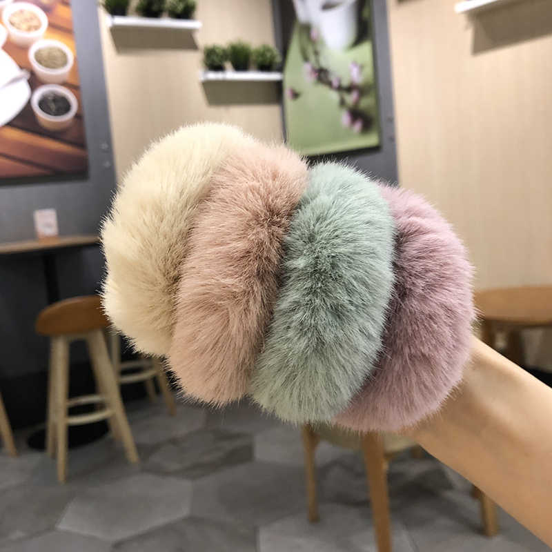2019 New Winter Scrunchies For Women Girls Simple High Elastic Hair Bands Hair Accessories Faux Fur Hair Rope Ponytail Holder