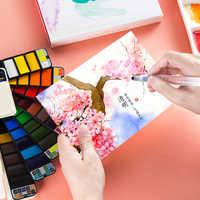 Livraison directe supérieure 42 couleurs solide aquarelle peinture ensemble avec eau brosse stylo Portable couleur de l'eau Pigment pour dessin