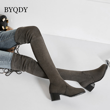 BYQDY Sexy Women Over Knee Boots Fashion Stretch Boot Zipper Lace Up Warm Fur Winter Shoes Office Lady Footwear Plus Size 34-43