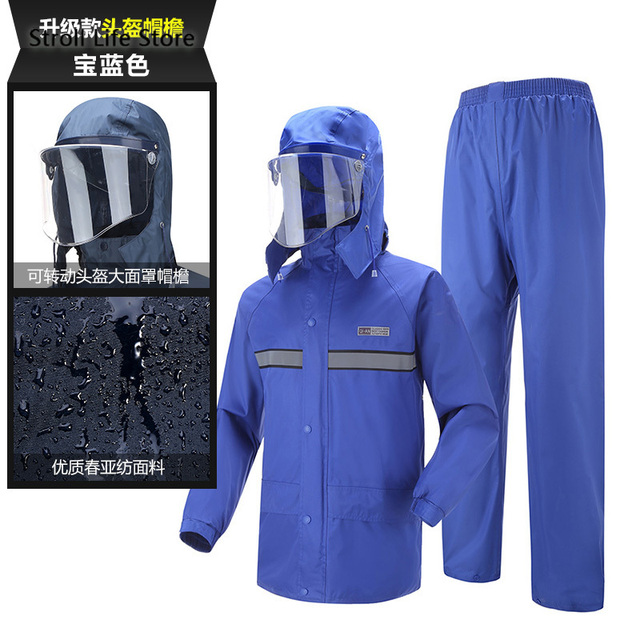 Electric Motorcycle Raincoat  Waterproof Suit  Rain Coat Jacket Men Riding Rain Pants Set Double Thickened Mens Sports Suits 5