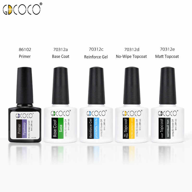 #70312 Gdcoco 2020 Produk Baru Tidak Ada Lap Top Coat Primer Rendam Off UV LED Gel Cat Kuku Dasar Matt coat Gel Lacquer Gel Varnish