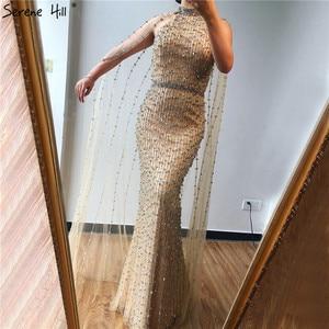 Image 3 - Vestidos de Noche de plata de Dubái de sirena de lujo, diseño sin mangas, Sexy, ilusión de rebordear, vestido Formal 2020 Serene Hill LA70087