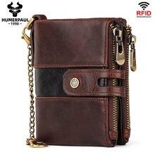 HUMERPAUL-billetera de cuero de vaca auténtico para hombre, monedero RFID con bolsillo para monedas, diseño de calidad, venta al por mayor