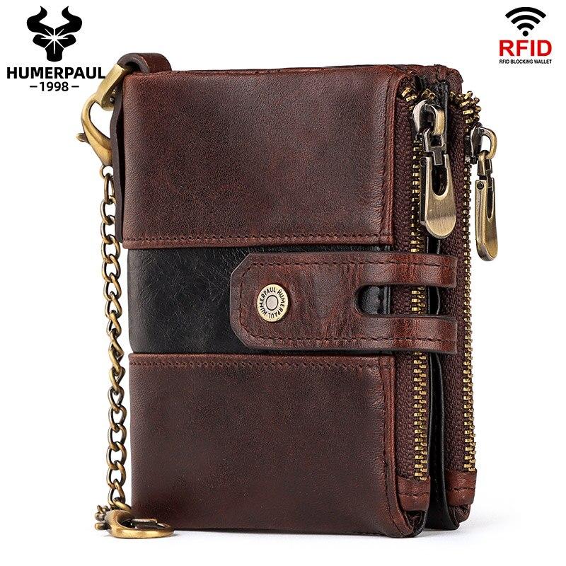 HUMERPAUL-billetera de piel de vaca auténtica para hombre, monedero con bolsillo para monedas, RFID, diseño de calidad, al por mayor
