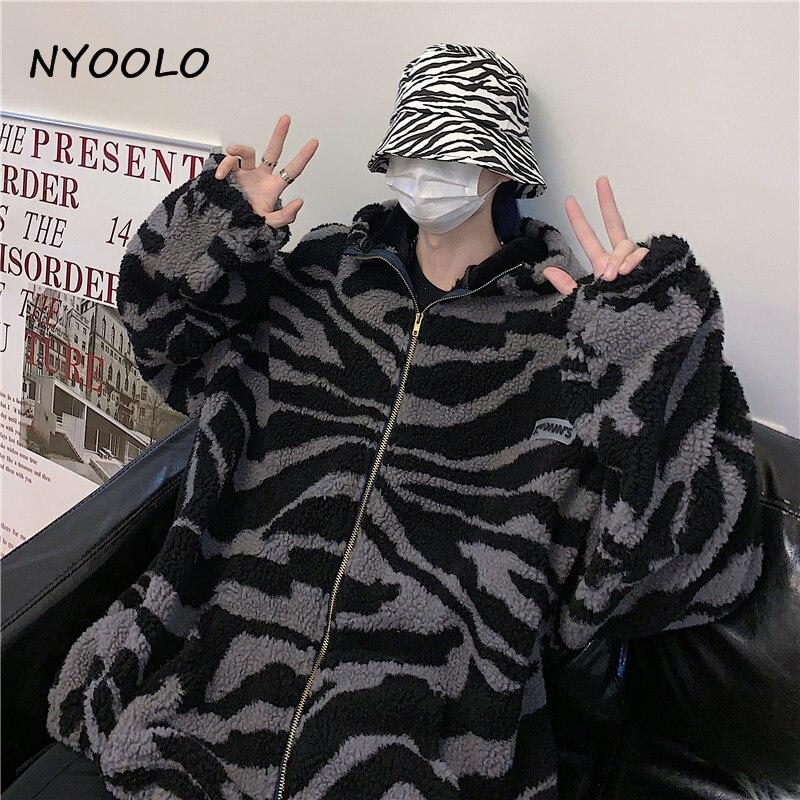 H5b091e9a28c44ce7af55fa640d781be0Q NYOOLO 2020 Winter Streetwear Zebra Pattern Lamb Woolen Thicken Warm Zipper Hooded Padded Coats Women Men Harajuku Loose Outwear