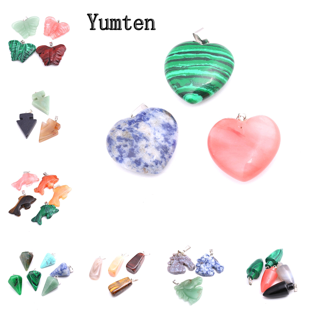 Yumten Heart Gem Pendant Natural Stone Charms Necklace Love Heart Accessories Women Fashion Jewelry Reiki Crystal Choker Couple in Pendants from Jewelry Accessories