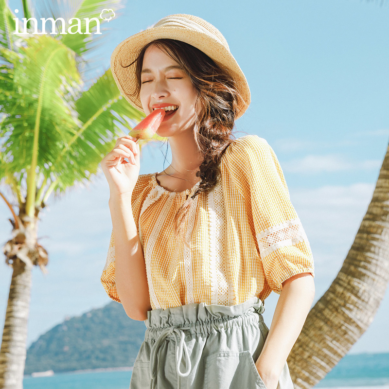 INMAN 2020 Summer New Arrival Literary Fresh Plaid Pullover Lace Check Short Sleeve Blouse