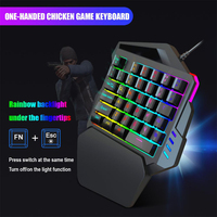 Wired Keypad One-Handed Mechanical Gaming Keyboard RGB Backlit Portable Mini Gaming Keypad Game Controller for PC PS4 Xbox Gamer