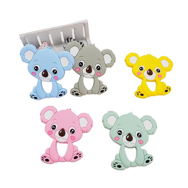Chenkai 2PCS Silicone Koala Teether DIY Baby Shower Chewing Pendant Nursing Sensory Teething Pacifier Dummy Toy Gfit BPA Free