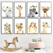 Flower Giraffe Elephant Zebra Fox Rabbit Tiger Nursery Wall Art Canvas Painting Posters And Prints Wall Pictures Baby Kids Room
