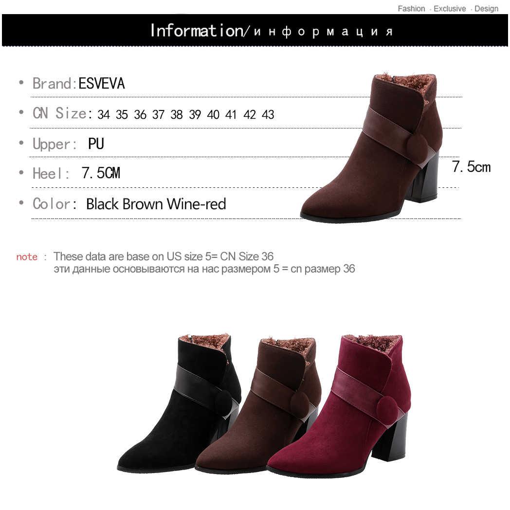 ESVEVA 2020 Sonbahar Kadın Ayakkabı Kış yarım çizmeler Kare Yüksek Topuk Akın Fermuar Kahverengi Motosiklet Platform Çizmeler Boyutu 34-43