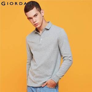Image 4 - Giordano Men Polo Shirt Men Thick Solid Long Sleeve Polo Men Shirt Winter Warm Slim Soft Cotton Fabric 01019779