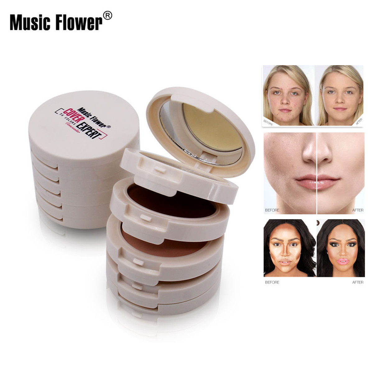 5 In 1 Music Flower Concealer Contouring Makeup Palette Foundation Base Face Corrector Bronzer Compact Powder