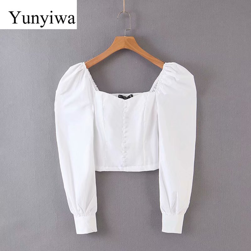 Women Fashion Solid Color Casual Slim Smock Blouse Shirts Women Vintage Square Collar Back Elastic White Blusas Chic Tops