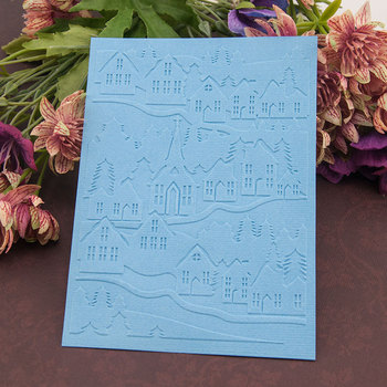 10.5*14.5cm Home village Embossing folders Plastic For Scrapbooking DIY Template Fondant Cake Photo Album Card Making image