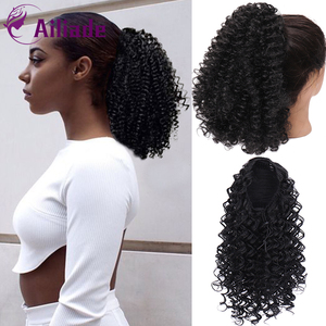 AILIADE 2020 New Type 14 inch Long Afro Kinky Curly Ponytail Extension Synthetic Drawstring Corn Wavy Hair Piece for Women Black(China)