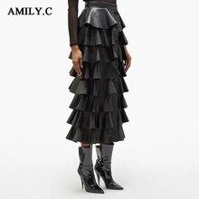 Новая Осенняя модная женская плиссированная юбка из искусственной кожи с высокой талией и пуговицами, вечерние юбки знаменитостей